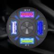 4 portos szivargyújtós autós töltő, QC 3.0 gyors töltővel