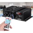 2x40W RMS (Max 2x400W) Digitális erősítő, Bluetooth, MP3 lejátszó, FM, távirányítóval, USB és SD kártya bemenet