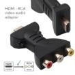 HDMI - 3RCA videó adapter, átalakító, régi RCA bemenetű tévéhez, Projektorhoz