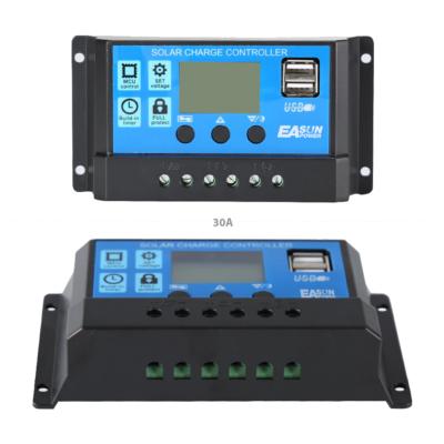 30A-es töltésszabályzó napelemekhez, 12-24V, dupla 5V USB kimenet