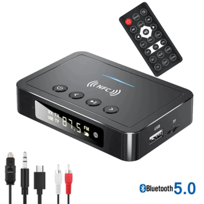 5 az 1-ben NFC többfunkciós Bluetooth adapter, LED kijelzővel, beépített mikrofonnal, mp3 lejátszó, FM transmitter, távirányító