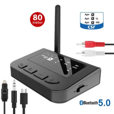 Nagy hatótávolságú 80m Bluetooth 5.0 AptX audio adó-vevő, Multiconnect