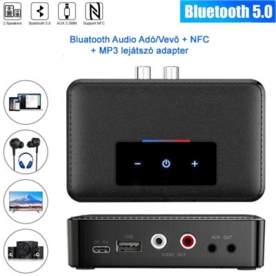 NFC Bluetooth 5.0 audio Adó/Vevő, érintőképernyős adapter, mp3 lejátszó