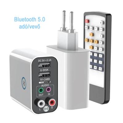 Bluetooth 5.0 Audio adó/vevő, 2.1A-es töltő és MP3 lejátszó adapter