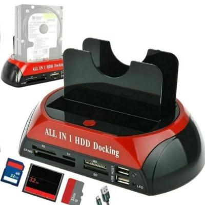 """MULTI SATA IDE E-SATA HDD dokkoló USB merevlemez állomás 2,5"""" - 3,5"""" + beépített kártyaolvasó"""