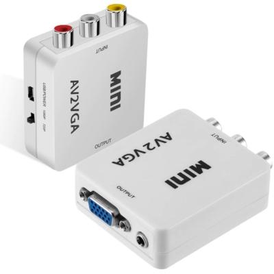 AV (RCA) - VGA átalakító adapter, CVBS videó bemenet, VGA monitorokhoz